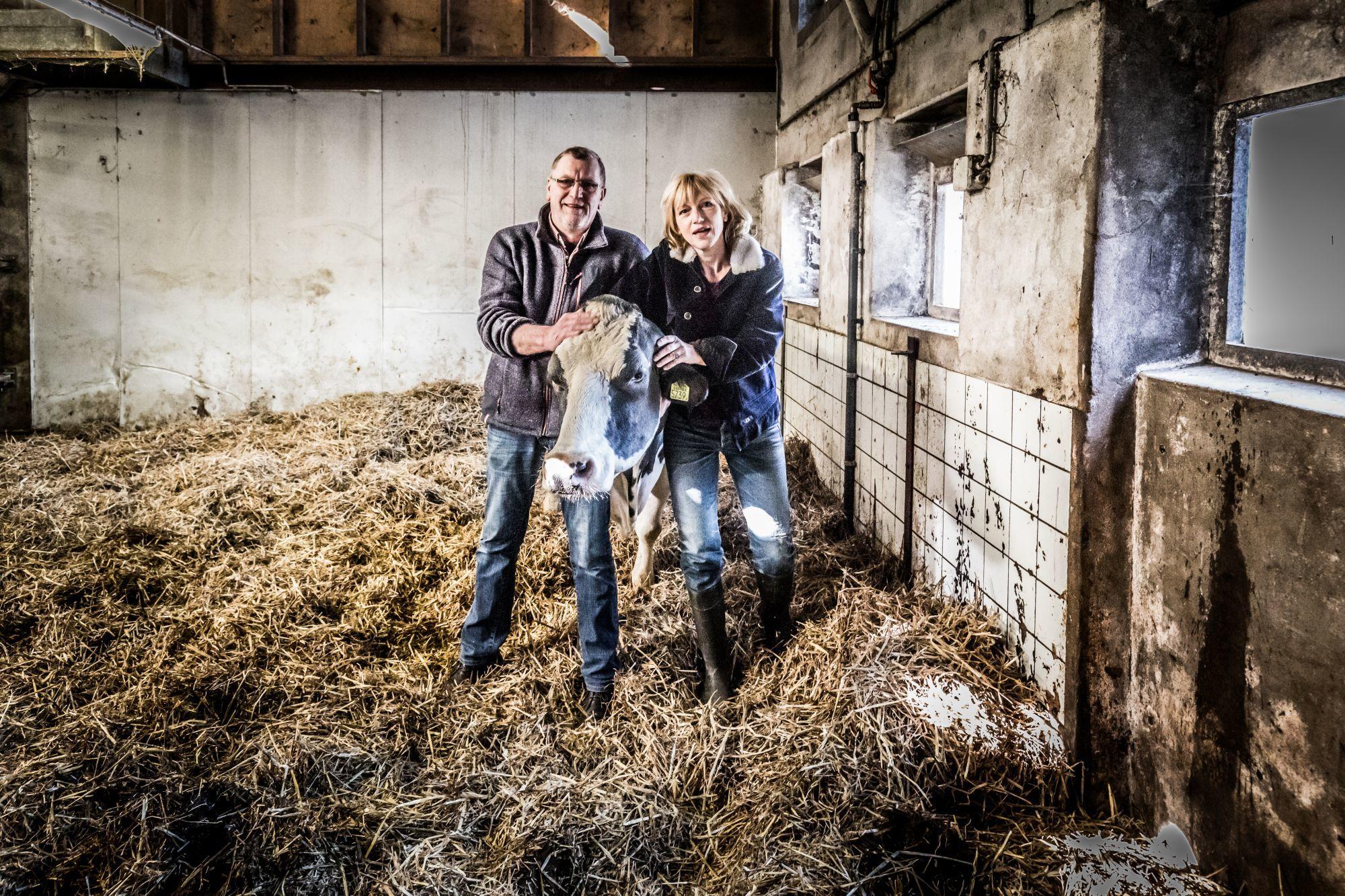 Johanna ter Steege met boer en koe